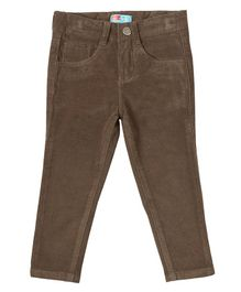 Kid Studio Solid Full Length Slim Fit Corduroy Pants - Brown