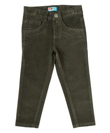 Kid Studio Solid Full Length Slim Fit Corduroy Pants - Dark Green