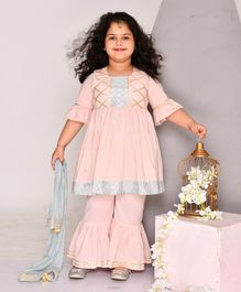 Amairaa Three Fourth Sleeves Gota Detailing Fit & Flared Kurta With Sharara & Dupatta - Baby Pink