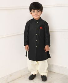 Amairaa Solid Front Pocket Full Sleeves Achkan Style Kurta With Salwar - Black