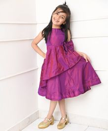 Amairaa Sleeveless Big Bow Flared Party Dress - Purple