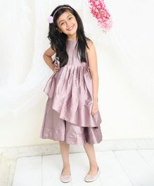 Amairaa Sleeveless Big Bow Applique Flared Dress - Light Purple