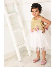 Amairaa Sleeveless Gold Sequined Bow Flared Dress  - White & Golden