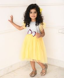 Amairaa Half Sleeves Silver Sequined Bow Netted Yoke Dress - Yellow & Purple