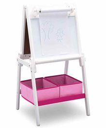 Delta Children Double Sided Activity Easel with Storage bins - White Pink