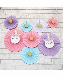Untumble Unicorn Theme Paper Fan Decoration Multicolor - Pack of 8