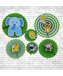 Untumble Jungle Theme Paper Fan Decoration Green - Pack of 6