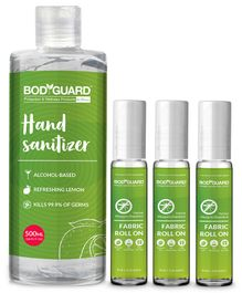 Bodyguard Hand Sanitizer & Mosquito Repellent Fabric Roll Ons - 500 ml & 10 ml Each