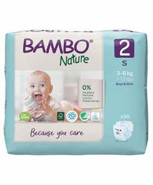 Bambo Nature Eco Friendly Small Size Tape Diapers with Wetness Indicator - 30 Pieces