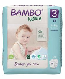 Bambo Nature Eco Friendly Medium Size Tape Diapers with Wetness Indicator - 28 Pieces