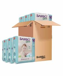 Bambo Nature Eco Friendly Tape Diapers with Wetness Indicator Medium Size Pack of 6 - 168 Pieces