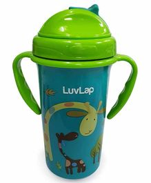 LuvLap Tiny Giffy Silicone Straw Sipper Green - 300 ml