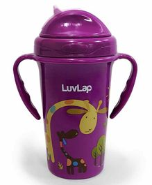 LuvLap Tiny Giffy Silicone Straw Sipper Purple - 300 ml