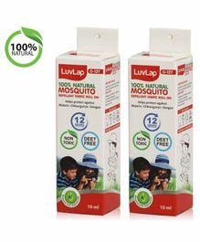 LuvLap 100% Natural Mosquito Repellent Fabric Roll On White Pack of 2 - 10 ml Each
