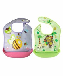 My NewBorn 100% Silicone Waterproof Bib With Detachable Pocket Pack of 2 - Purple Green