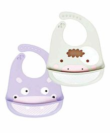 My NewBorn 100% Silicone Waterproof Bib With Pocket Pack of 2 - Purple Grey