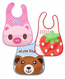 My NewBorn Printed Velcro Closure Bibs With Pocket Pack of 3 - Pink Blue Red
