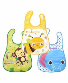 My NewBorn Printed Velcro Closure Bibs With Pocket Pack of 3 - Green Yellow Blue