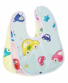 My NewBorn Fast Dry Double Layer Snap Button Bibs Pack of 3- Blue Pink Yellow