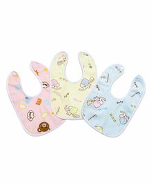 My NewBorn Fast Dry Double Layer Snap Button Printed Bibs Pack of 3- Blue Pink Yellow