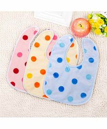 My NewBorn Double Layer Snap Button Polka Dot Bibs Pack of 3- Blue Pink Yellow