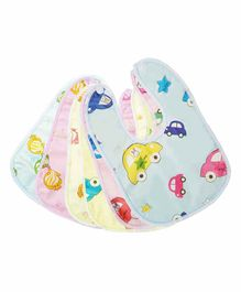 My NewBorn Fast Drying Premium Cotton Bibs Fish & Car Print Pack of 6 - Multicolour