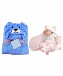 My NewBorn All Season Hooded Wrappers Bear Design Pack of 2 - Blue Pink