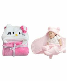 My NewBorn All Season Hooded Wrappers Kitty Design Pack of 2 - Pink
