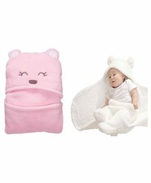 My NewBorn All Season Hooded Wrappers Bear Design Pack of 2 - White Pink