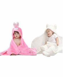 My NewBorn All Season Hooded Wrappers Bunny Design Pack of 2 - Off White Pink