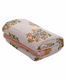 Mom's Home Organic Cotton Single Bed Comforter Floral Print - Beige