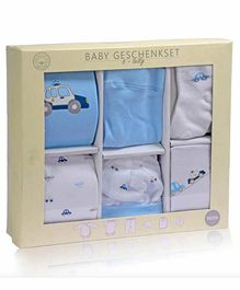 Mom's Home Organic Cotton 6 Piece Baby Clothing Set Vehicle Print - Blue White