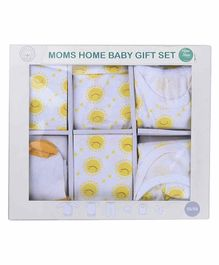 Mom's Home Organic Cotton 6 Piece Baby Clothing Set Sun Print - White Yellow
