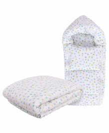 Mom's Home Organic Cotton Baby Sleeping Bag & Quilt Combo Set - White