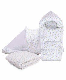 Mom's Home Mosquito Net with Sleeping Bag & Quilt Set Heart Print - Green White