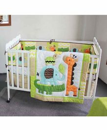 The Mom Store Cotton Crib Bedding Set Animal Patch - Multicolor