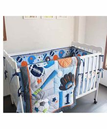 The Mom Store Cotton Crib Bedding Set Sports Patch - Multicolor