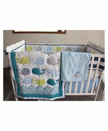 The Mom Store Cotton Crib Bedding Set Whale Patch - Multicolor