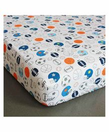 The Mom Store 100% Cotton Crib Sheet  Sports Champ Print - White