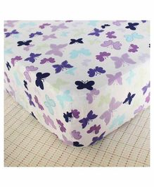 The Mom Store 100% Cotton Crib Sheet  Happy Butterflies  Print - White Purple