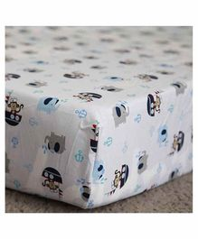 The Mom Store 100% Cotton Crib Sheet  Noah Ark Print - White