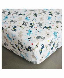 The Mom Store 100% Cotton Crib Sheet  Dog Print - White