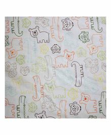 The Mom Store 100% Cotton Crib Sheet  Animal Kingdom Print - White