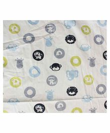 The Mom Store 100% Cotton Crib Sheet  Baby Jungle Print - White