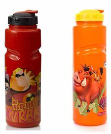 Gluman Mr Incredible & Simba Sipper Bottles Red Yellow Pack of 2 - 800 ml Each