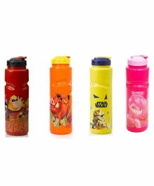 Gluman Character Themed Sipper Bottles Multicolour Pack of 4 - 800 ml Each