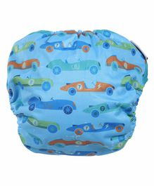 Polka Tots Reusable Cloth Diapers with Bamboo Insert Car Print - Blue