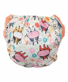 Polka Tots Reusable Cloth Diapers with Bamboo Insert Cow Print -  Multicolor