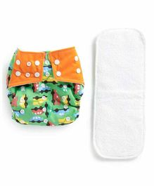 Polka Tots Reusable Cloth Diaper with Insert - Green White