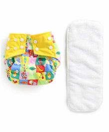 Polka Tots Reusable Cloth Diaper with Insert - Yellow White